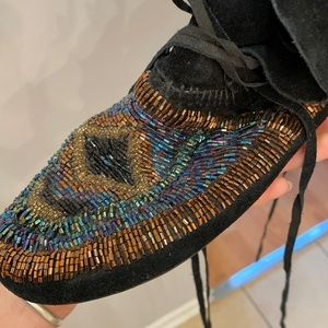 House of Harlow beaded suede moccasins.